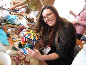 Abrakadoodle teacher/manager Margaret Cornwell of Abrakadoodle-Montgomery, AL creates art at conference.