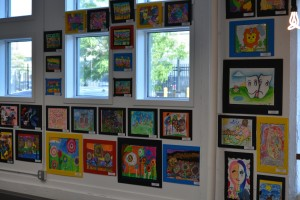 Colorful student creations decorate the walls of TechTown