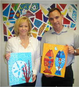 Army veterans Jamie (left) and Eric Rodrigues immersed in art and creativity during their Abrakadoodle training.